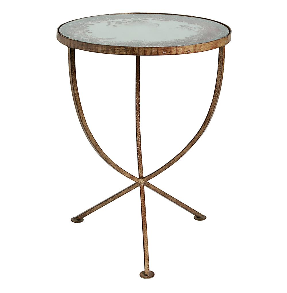 Sojourn contemporary antique mirror round accent side table for Side end table