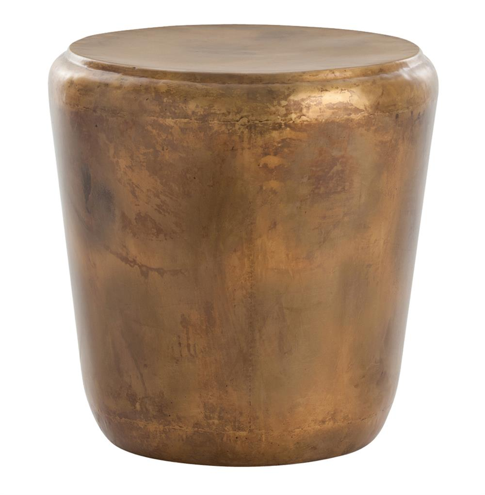 Santiago modern burnished brass drum side end table for Drum side table