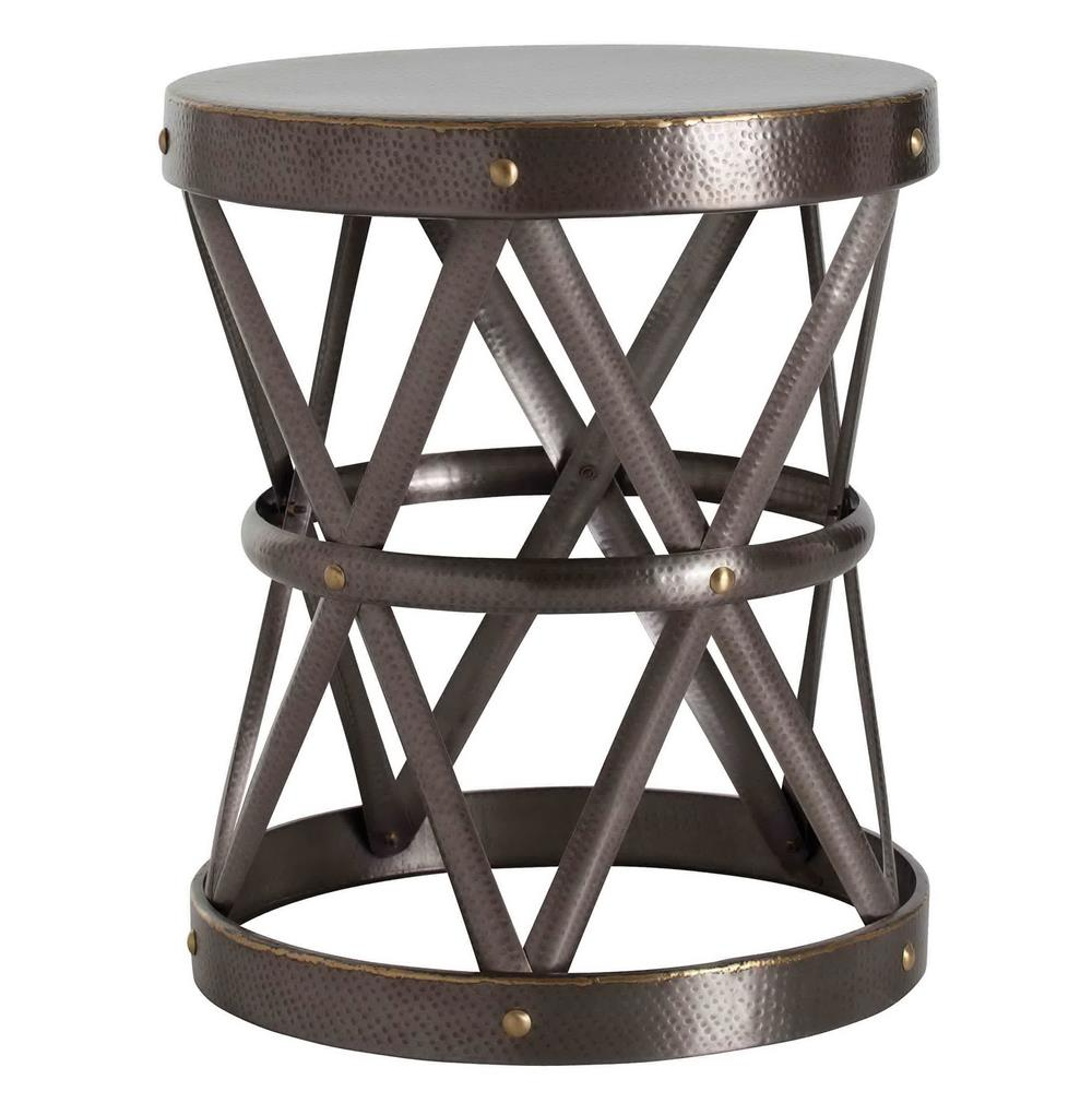 Costello Dark Brass Hammered Metal Open Accent Side Table