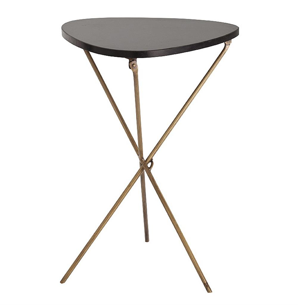 Wilmington modern triangle iron marble folding side table for Side table