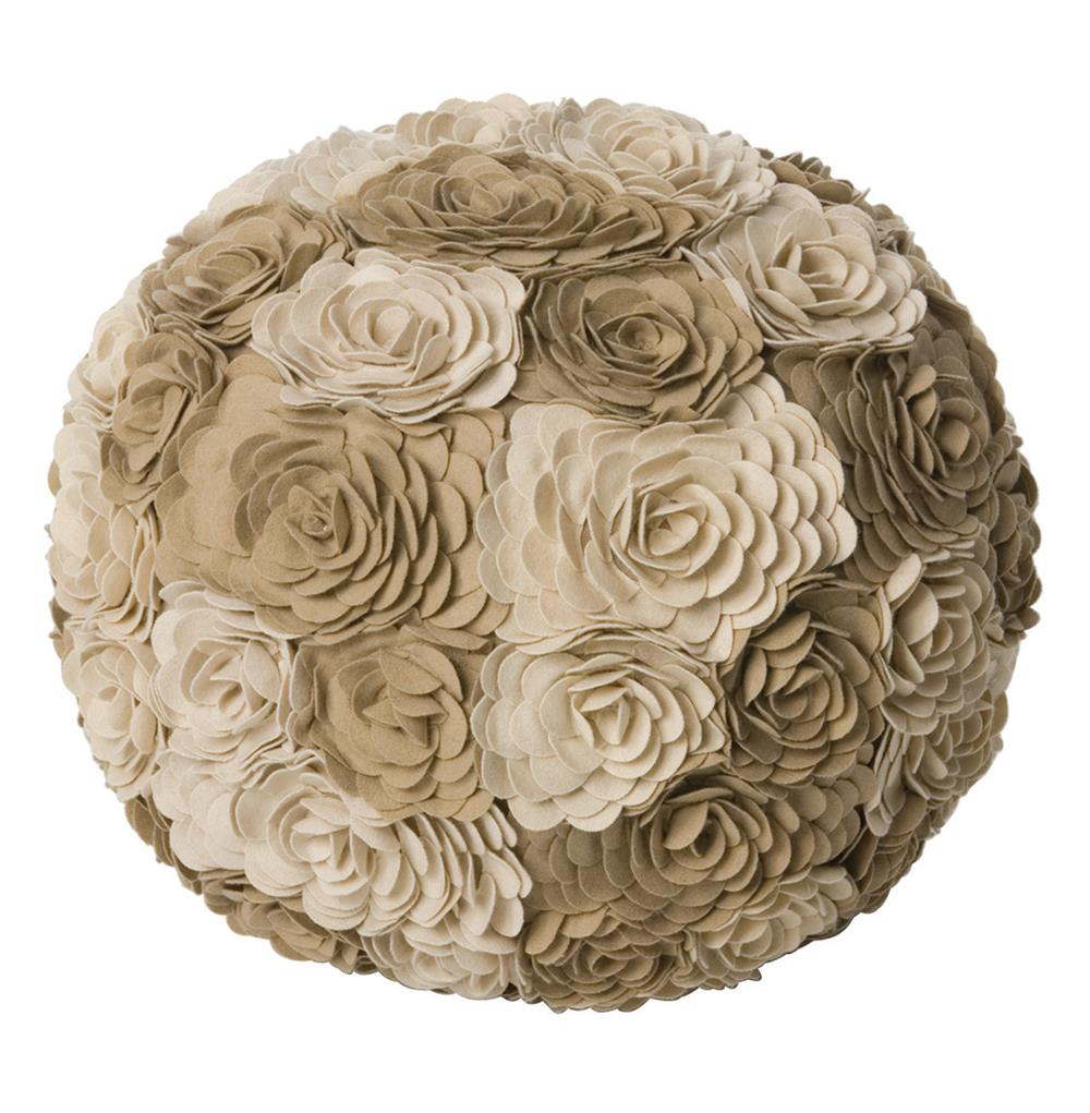 Alana Ivory Taupe Modern Woolen Floral Ottoman Floor Pouf