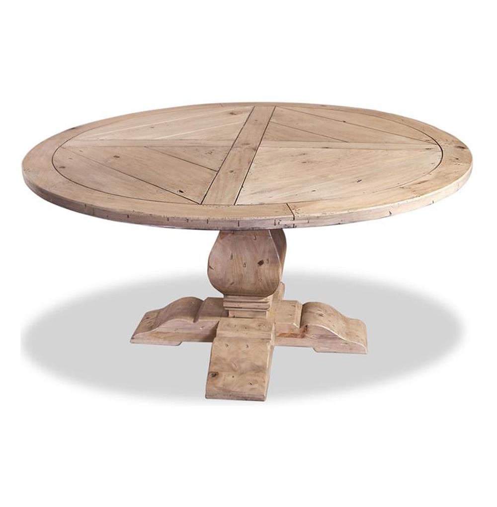 """Ludlum Neoclassical Rustic Light Wood 60""""D Round Dining Table"""