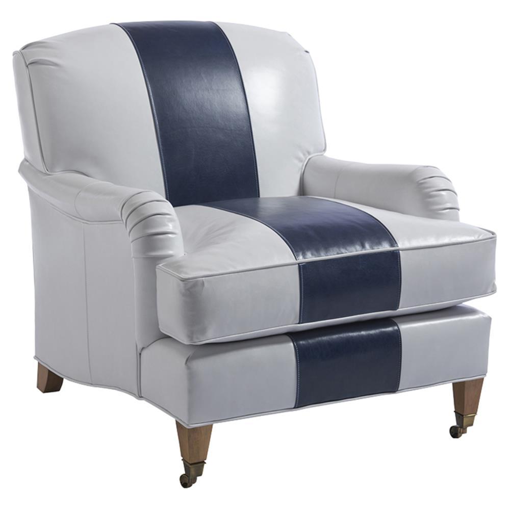 Barclay Butera Sydney Modern White Blue Leather Upholstered