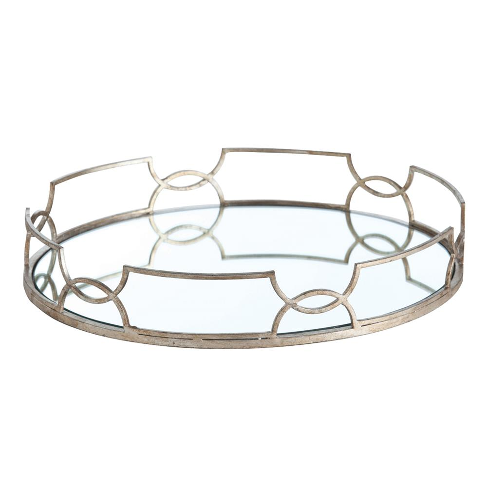 tabletop trays hollywood regency large silver link oval mirrored tray