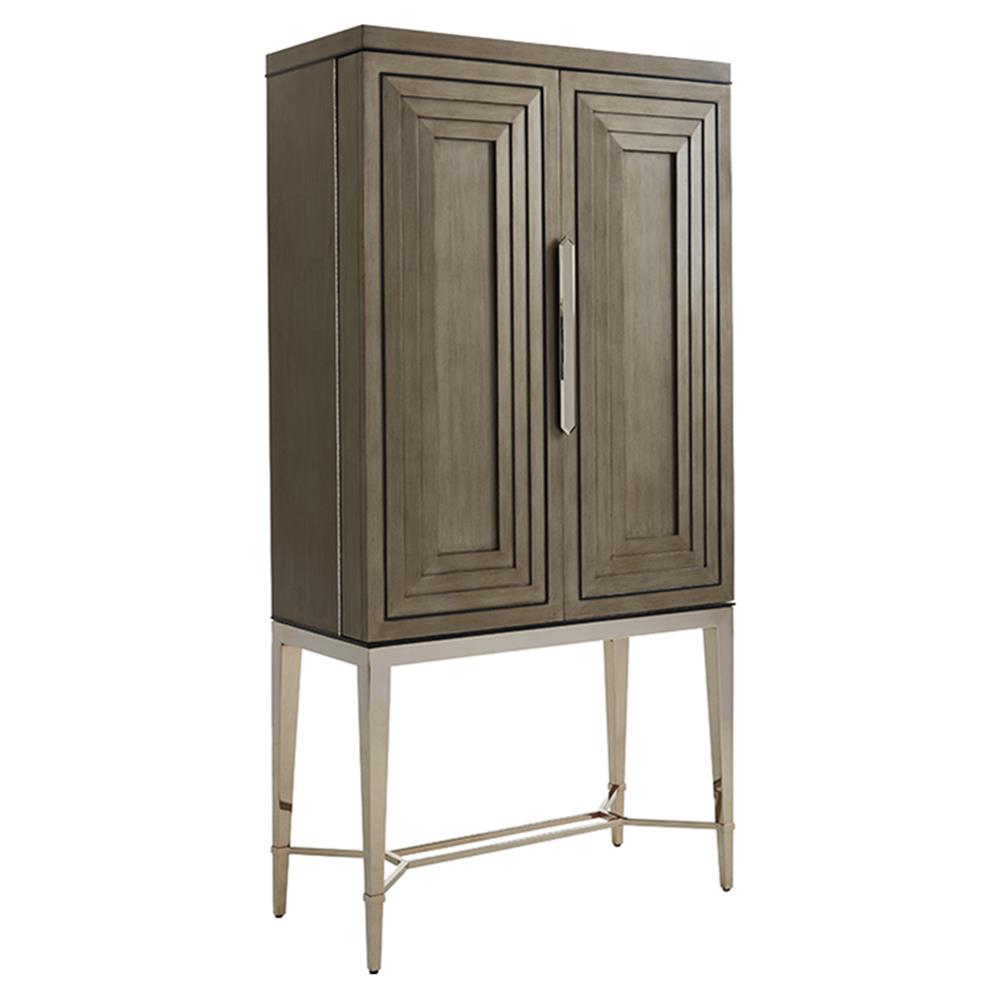 Beau Lexington Cheval Modern Classic Luxury Platinum Legs Tall Wooden Bar Cabinet  | Kathy Kuo Home ...