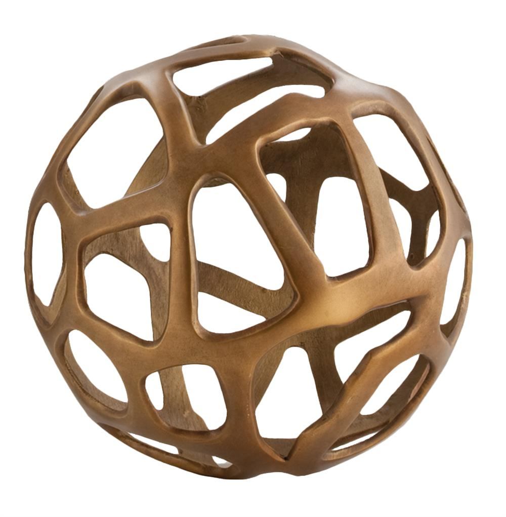 Greatest Ennis Antique Brass Web Sphere Sculpture Decor Object - 10 Inch KF12
