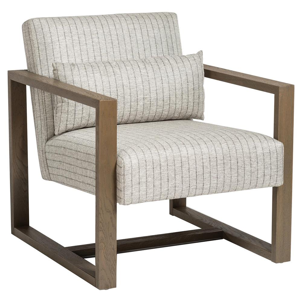 . Shine Modern Grey Striped Upholstered Brown Wood Occasional Chair