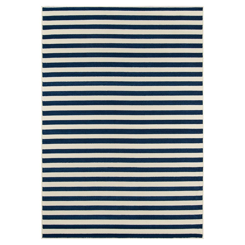 Justice Modern Blue White Stripe Outdoor Rug 18x37 Kathy Kuo Home