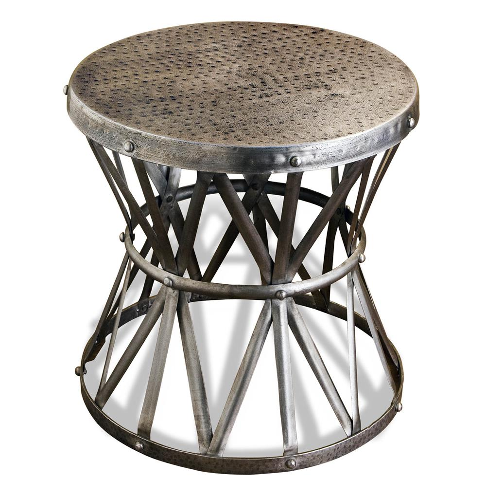 Araby rustic hammered metal antique silver side table large araby rustic hammered metal antique silver side table large kathy kuo home geotapseo Image collections