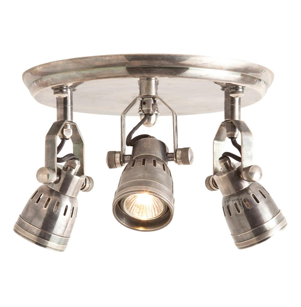 Trey Industrial Loft 3 Light Vintage Silver Flush Mount Ceiling Fixture Kathy Kuo Home