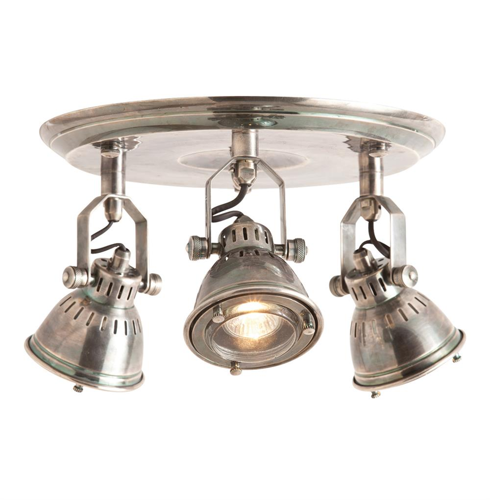 Trace Industrial Modern 3 Light Vintage Silver Flush Mount