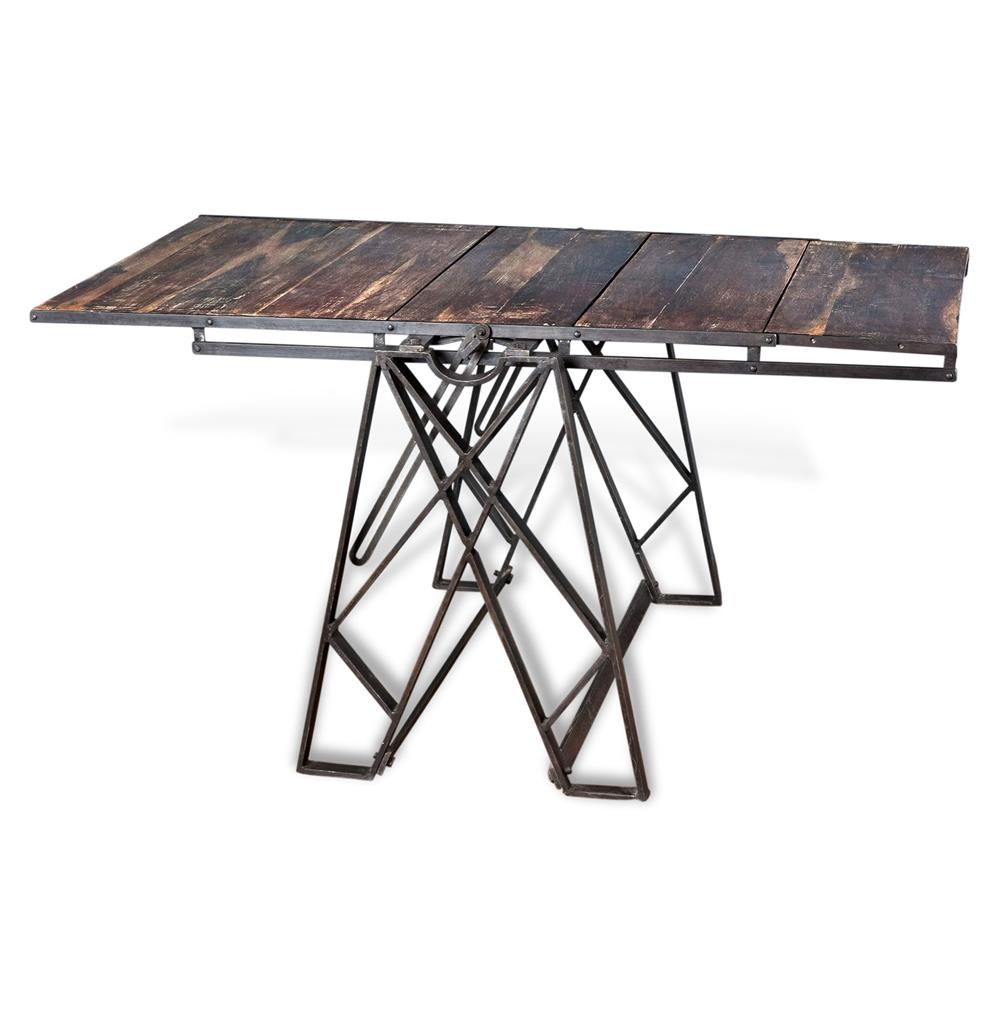 Prasat Industrial Loft Convertible Dining Table Bookshelf | Kathy Kuo Home