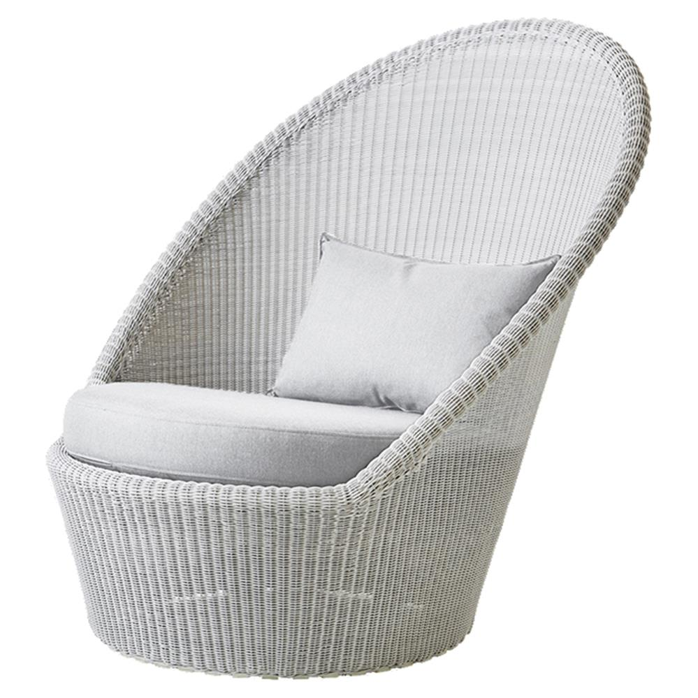 Cane Line Kingston Coastal Light Grey White Cushion Outdoor Lounge Chair |  Kathy Kuo Home