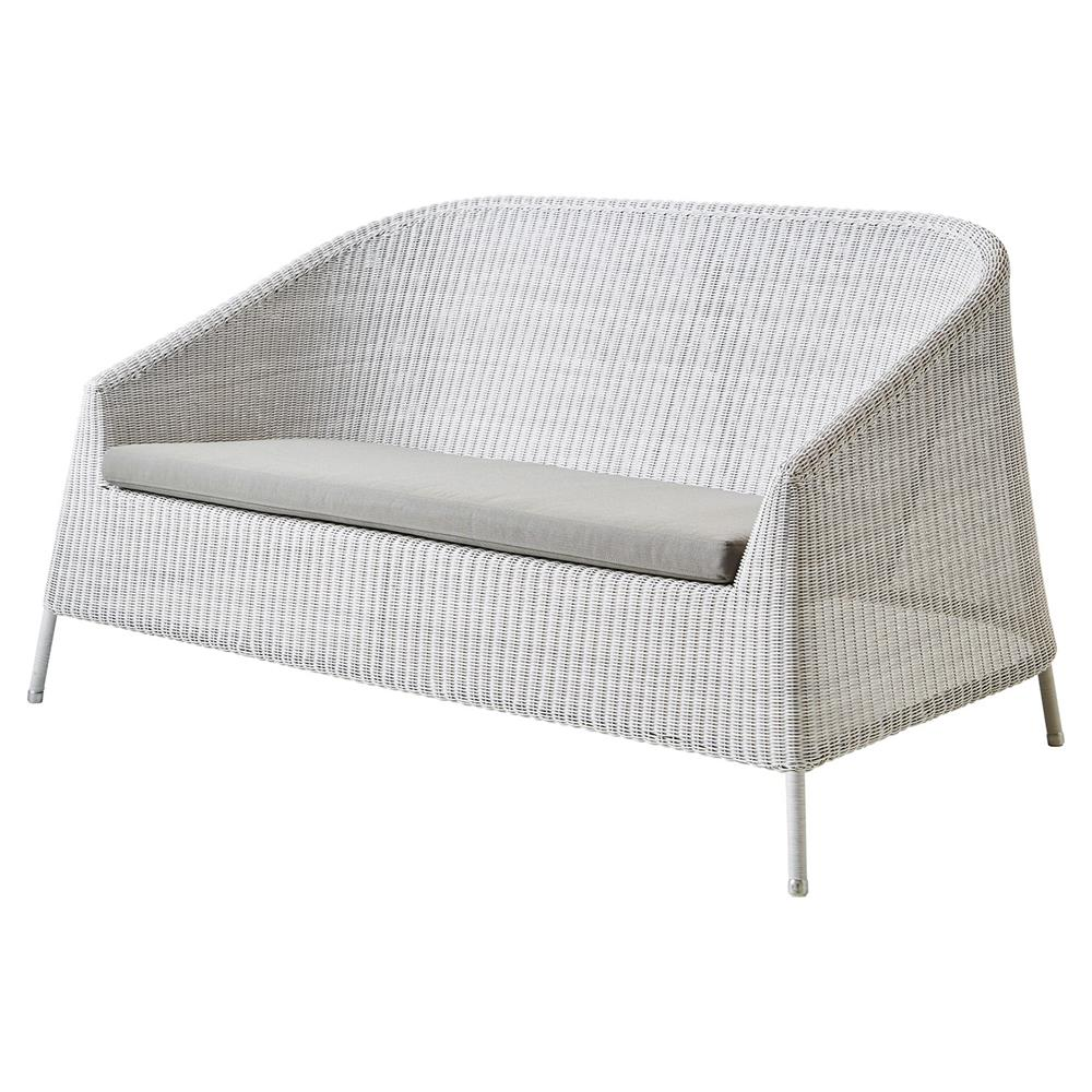 Cane-line Kingston Modern Brown Stackable White Cushion Outdoor 2 Seater  Sofa