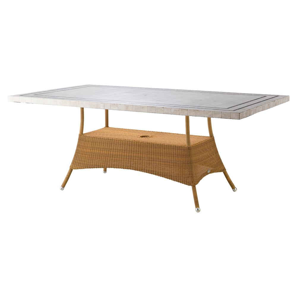 Cane Line Lansing Coastal Grey Travertine Brown Weave Outdoor Dining Table Kathy Kuo Home
