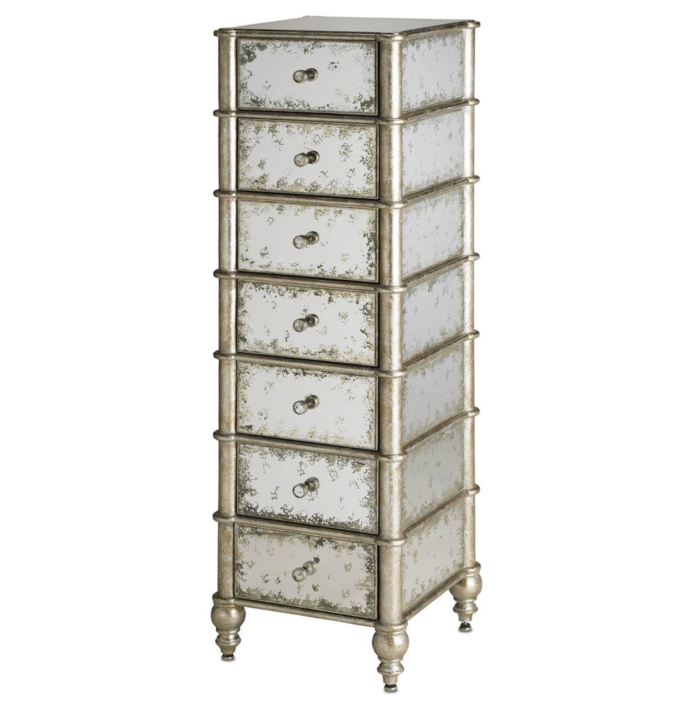 Harlow Hollywood Regency Antique Mirror 7 Drawer Lingerie Chest
