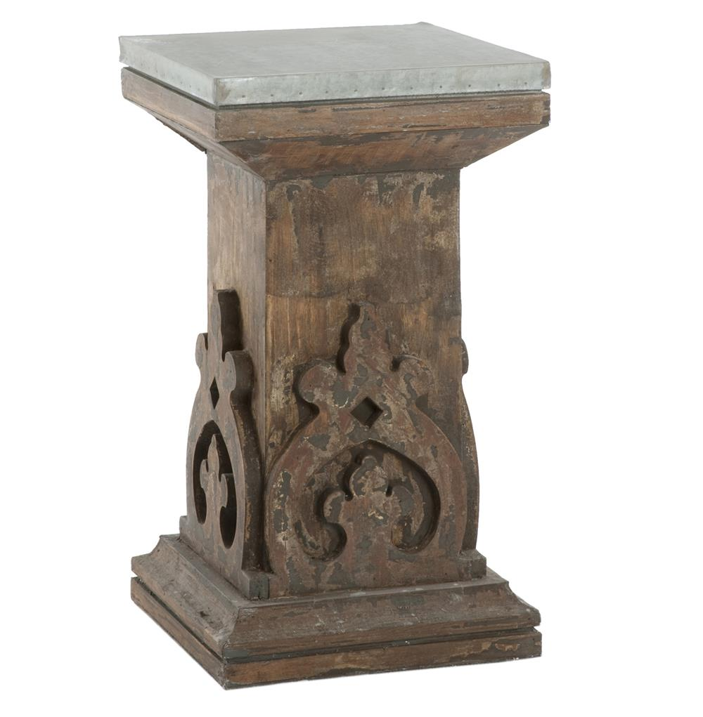 French country aged black carved wood column side table