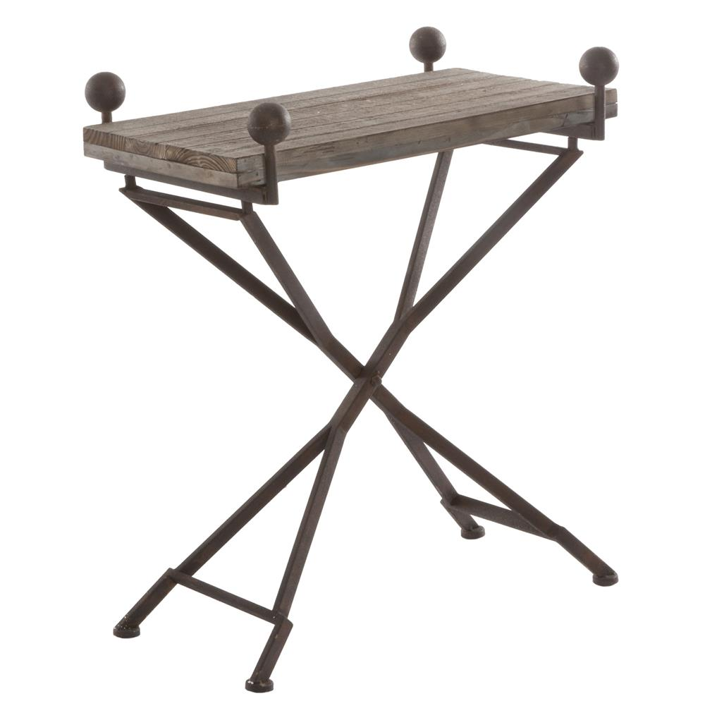 Iron Side Table ~ French country reclaimed wood folding wrought iron side