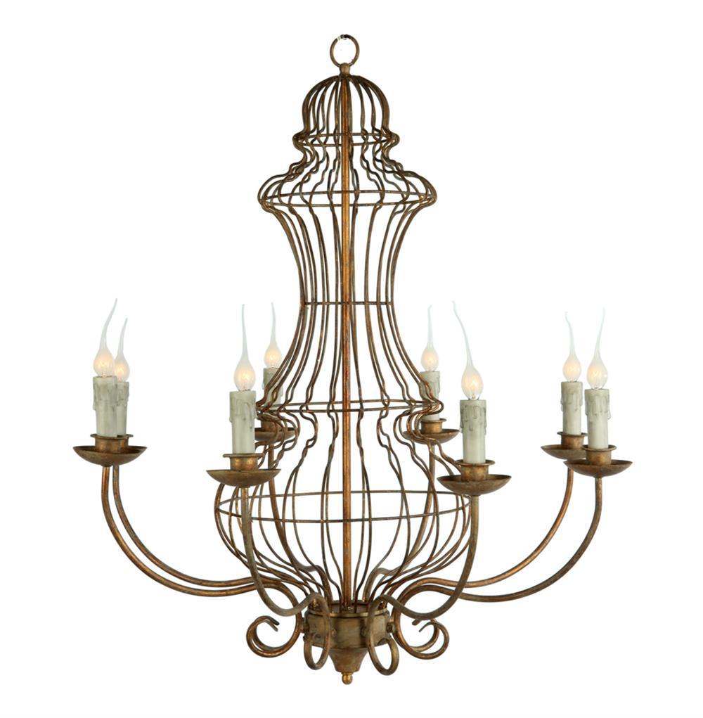 Genie Urn French Country Iron Frame 8 Light Antique Gold