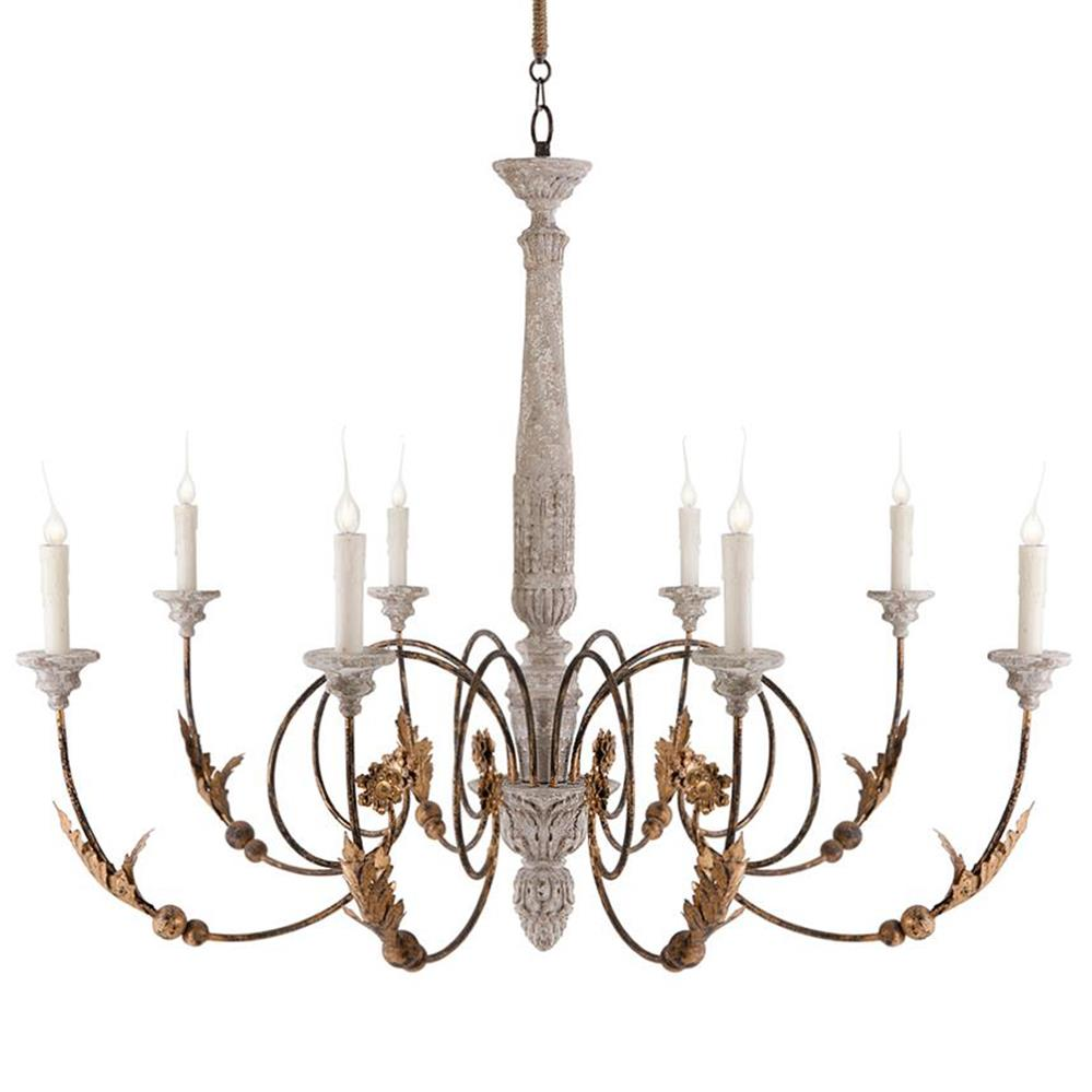 Pauline large french country 8 light curled iron arm French country chandelier