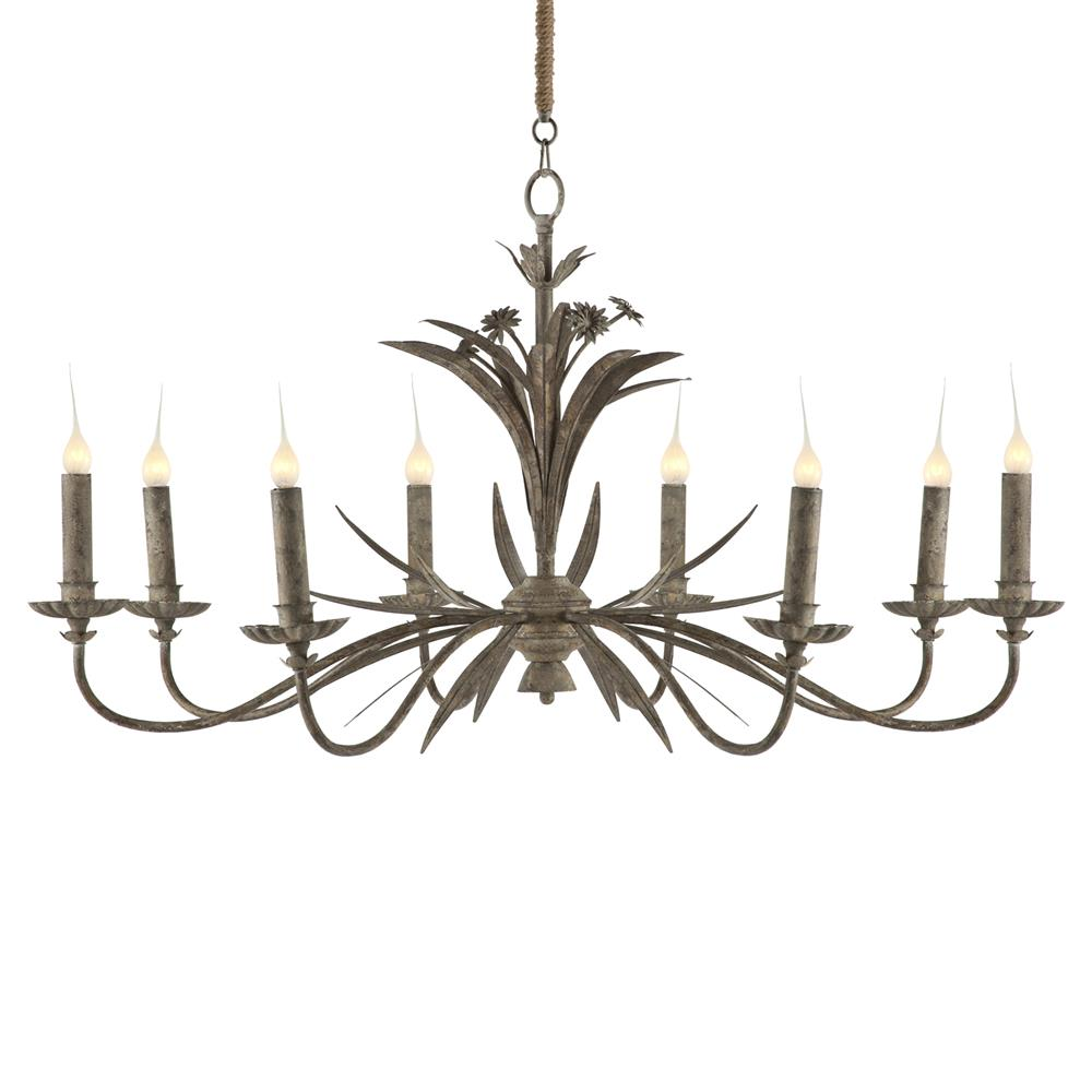 Florence antique grey metal french country 8 light French country chandelier