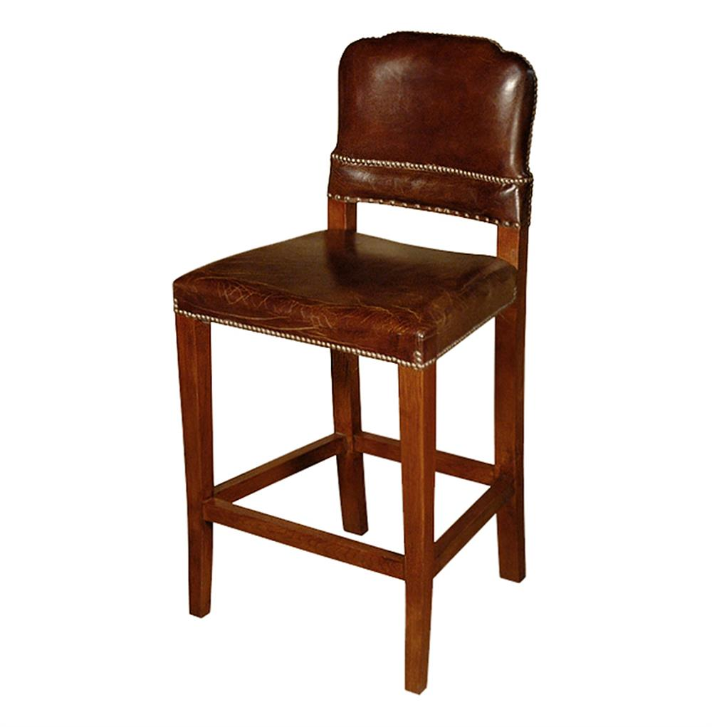 Superbe Gibbons Rustic Lodge Cigar Top Grain Leather Counter Stool | Kathy Kuo Home