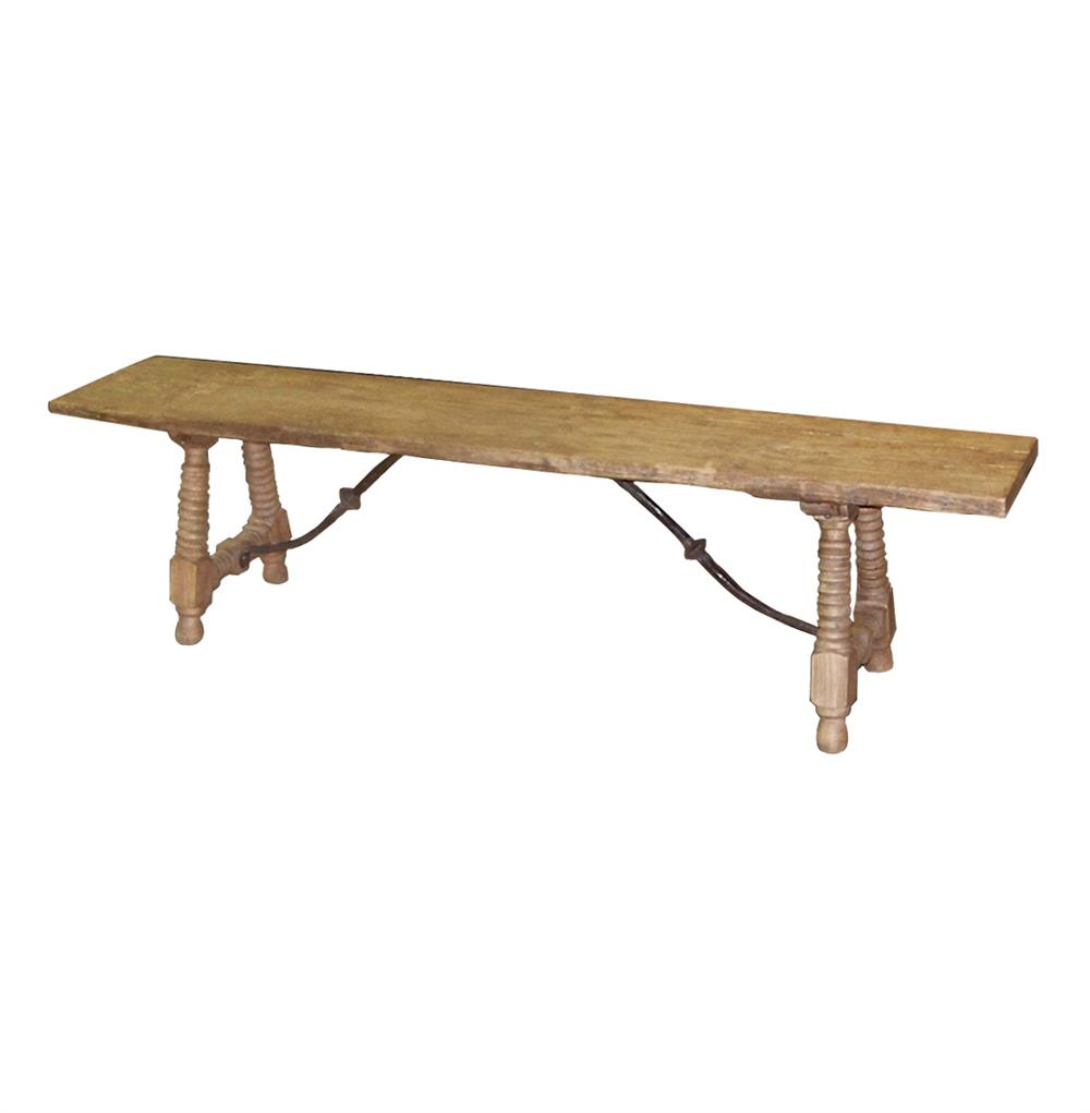Zareb Reclaimed Rustic Elm Wood Spanish Iron Base Bench