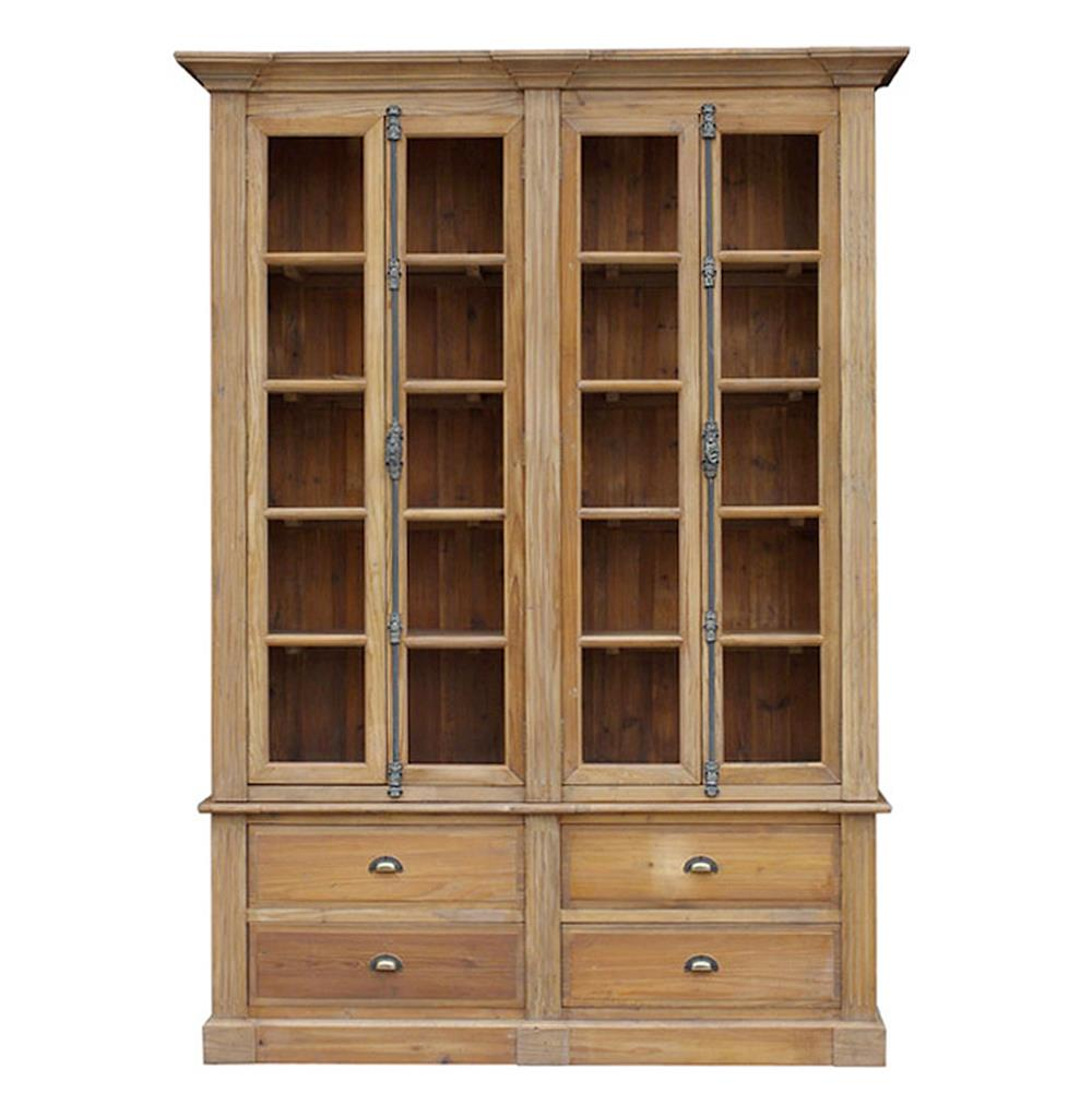 Large Wooden Bookcases ~ Marcus french country reclaimed wood double bookcase
