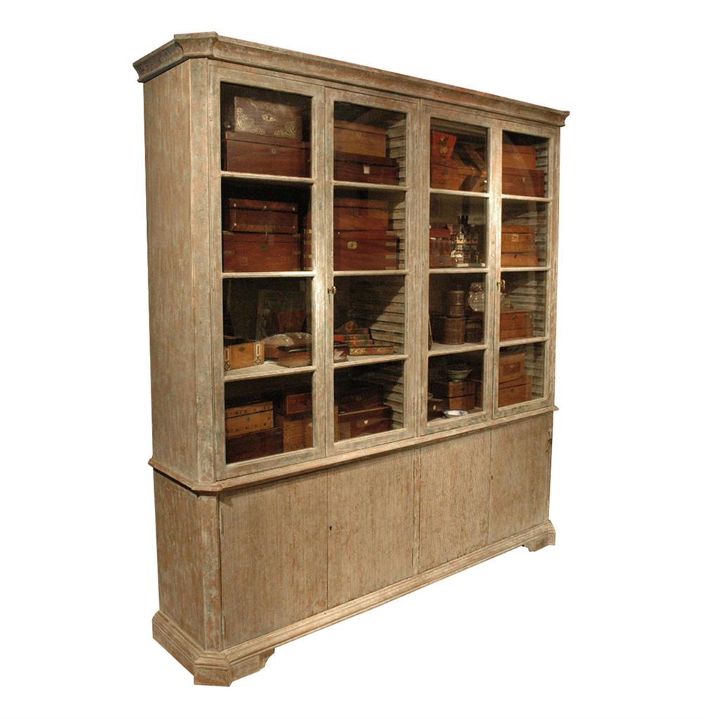 Chamberet French Country Distressed Grey 4 Door Bookcase Cabinet Kathy Kuo Home