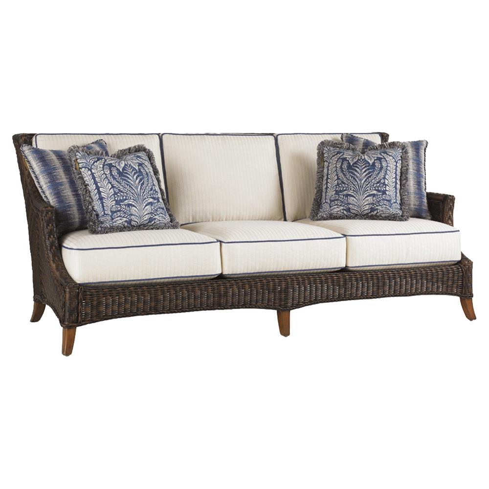 Tommy Bahama Island Estate Lanai Modern Woven Wicker Outdoor Cushion Sofa Kathy Kuo Home