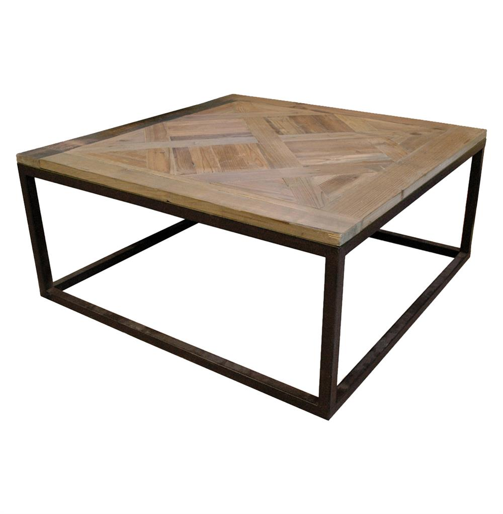 Gramercy modern rustic reclaimed parquet wood iron coffee table kathy kuo home Rustic wood and metal coffee table