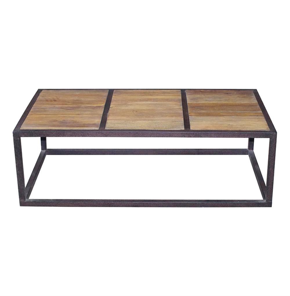 Lisbeth Urban Rustic Reclaimed Elm Iron Rectangle Coffee Table Kathy Kuo Home