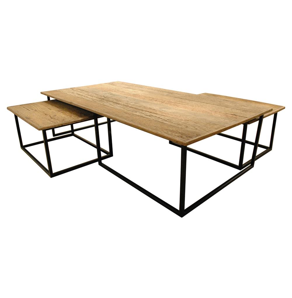 Dickens reclaimed wood modern large coffee table set for Reclaimed coffee table