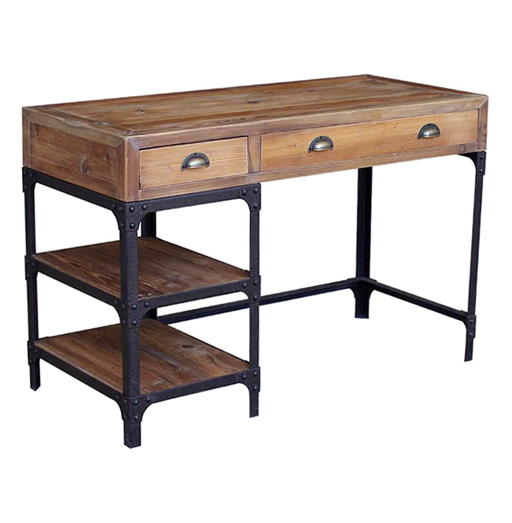 Luca Reclaimed Wood Rustic Iron Loft Small Desk Kathy Kuo Home