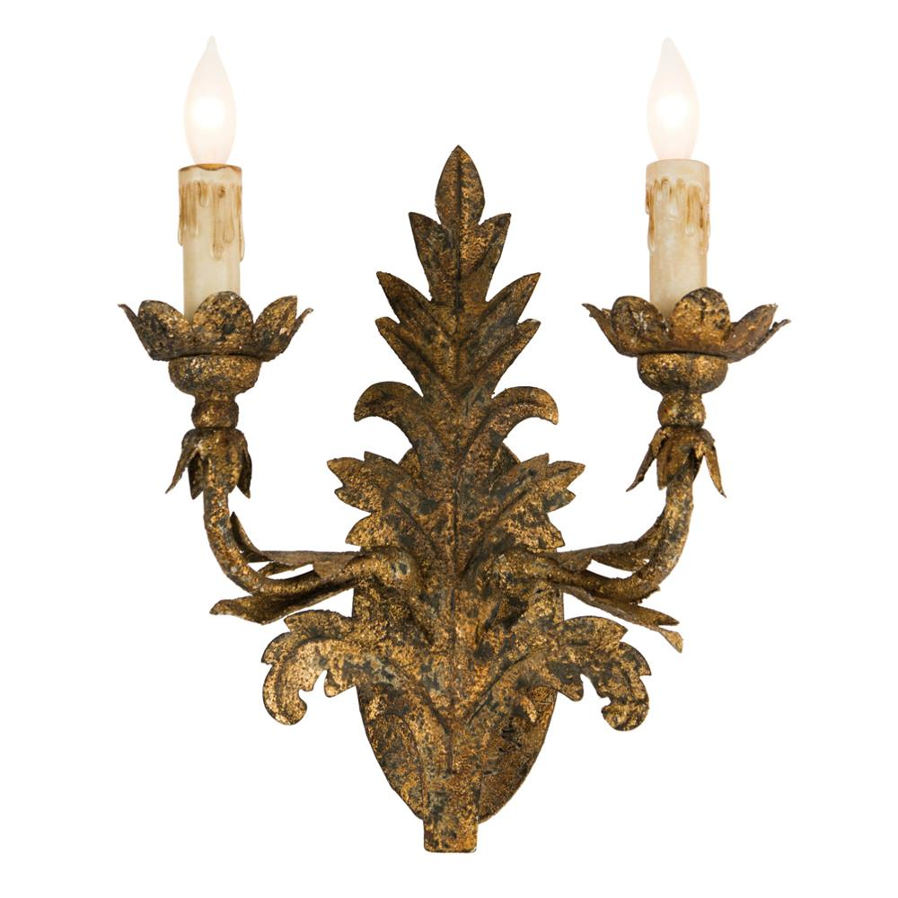 Lincoln French country 2 arm rustic gold pineapple leaf wall sconce - a gorgeous Old World style lighting option for your French country home!