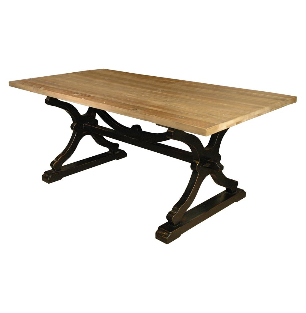 Quiznol old pine black base rustic farmhouse dining table for Black dining table