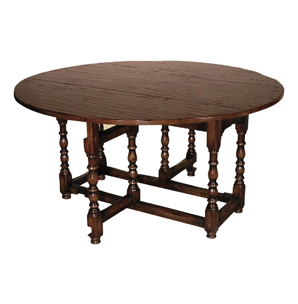 English Tudor Style Rustic Gate Leg Drop Leaf Dining Table