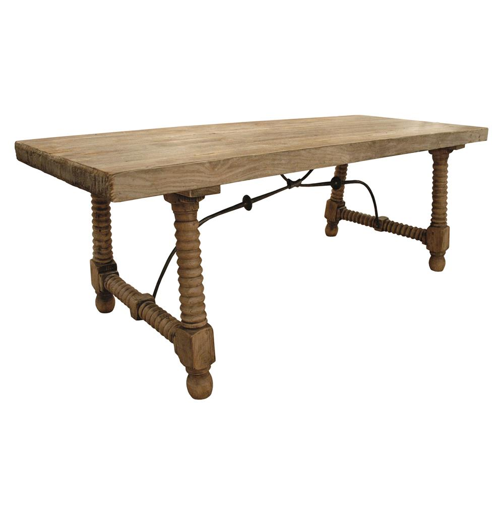 zareb reclaimed rustic elm wood spanish iron base dining table kathy kuo home. Black Bedroom Furniture Sets. Home Design Ideas