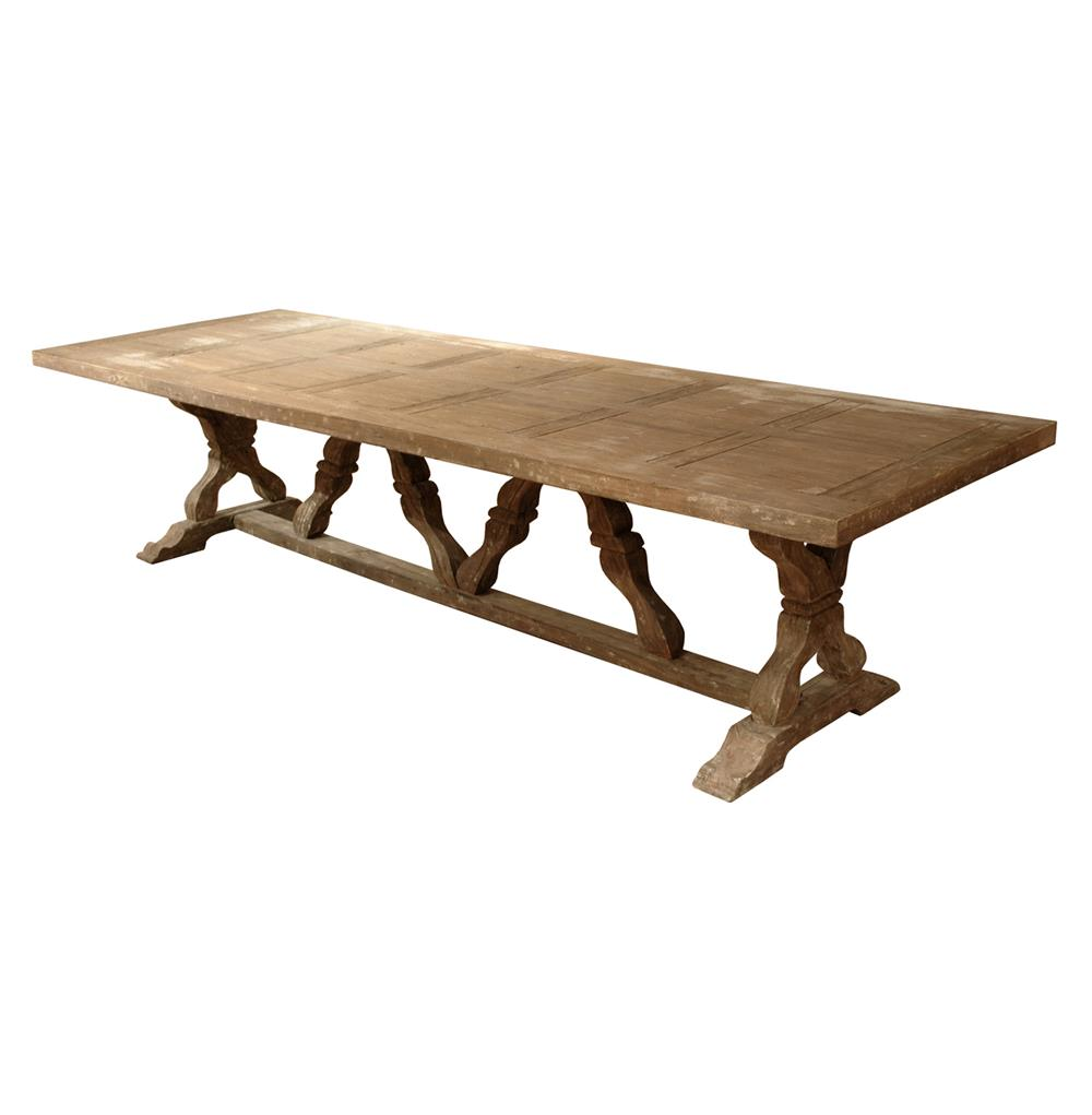 Linley heavy distress farm house 14 person trestle dining for Farmhouse dining table