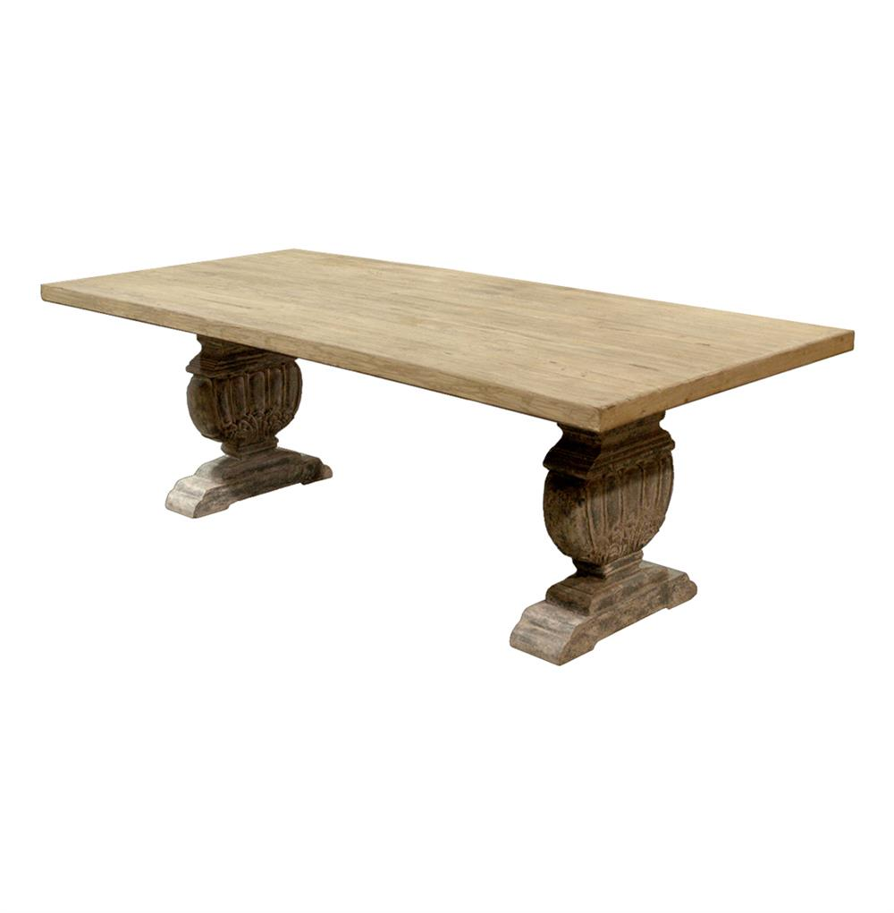 Cervantes french country trestle base farmhouse dining for Farmhouse dining table