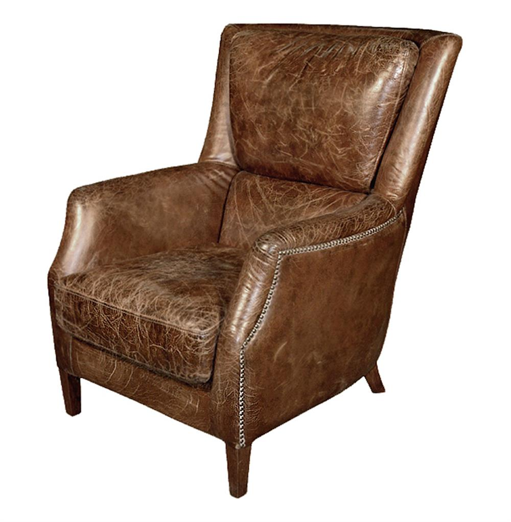 ... Masculine Room Distressed Cigar Leather Arm Chair  Kathy Kuo Home