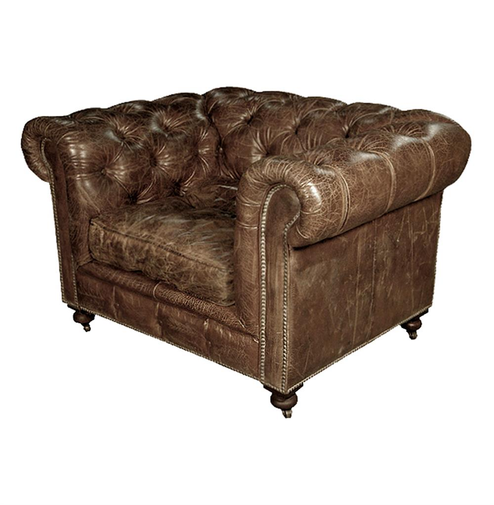 Gentil Kensington Chesterfield Leather Arm Chair In Vintage Cigar | Kathy Kuo Home