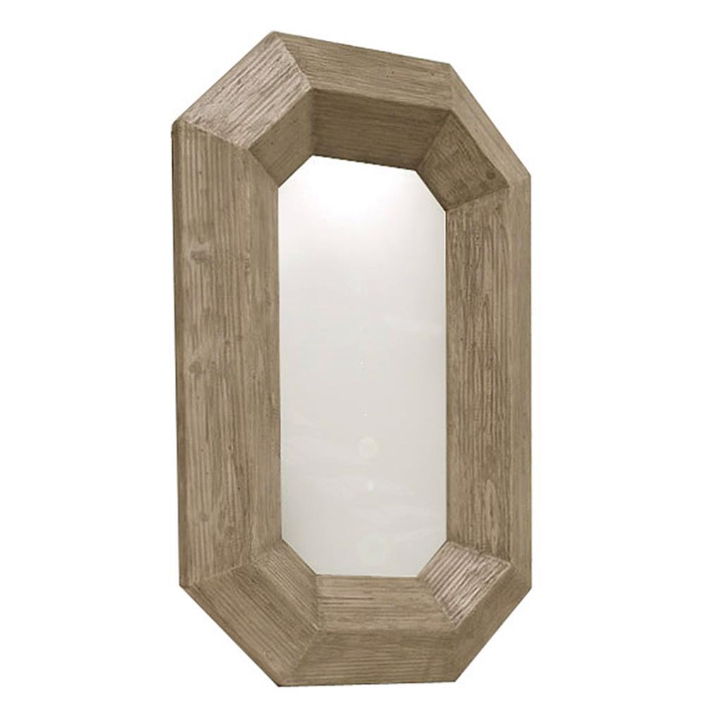 Rila Canted Modern Rustic Chunky Wood Lozenge Floor Mirror