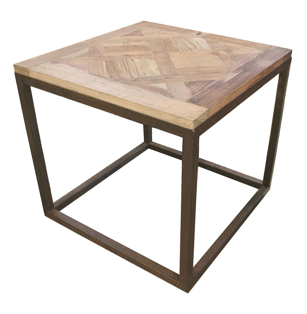 Gramercy modern rustic reclaimed parquet wood iron side table for Iron and wood side table