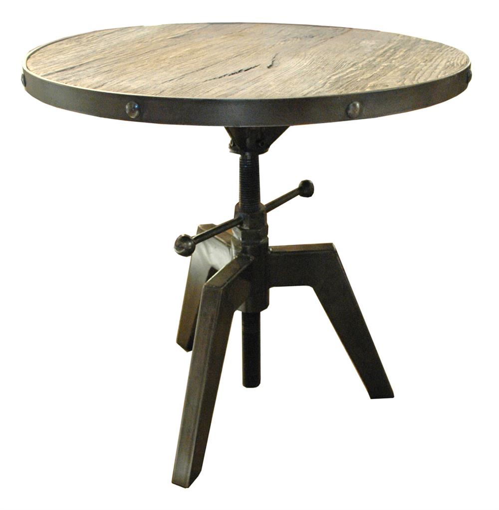 Wood And Metal Uriah Adjustable Accent Table: Sumner Round Industrial Adjustable Swivel Accent Side Table