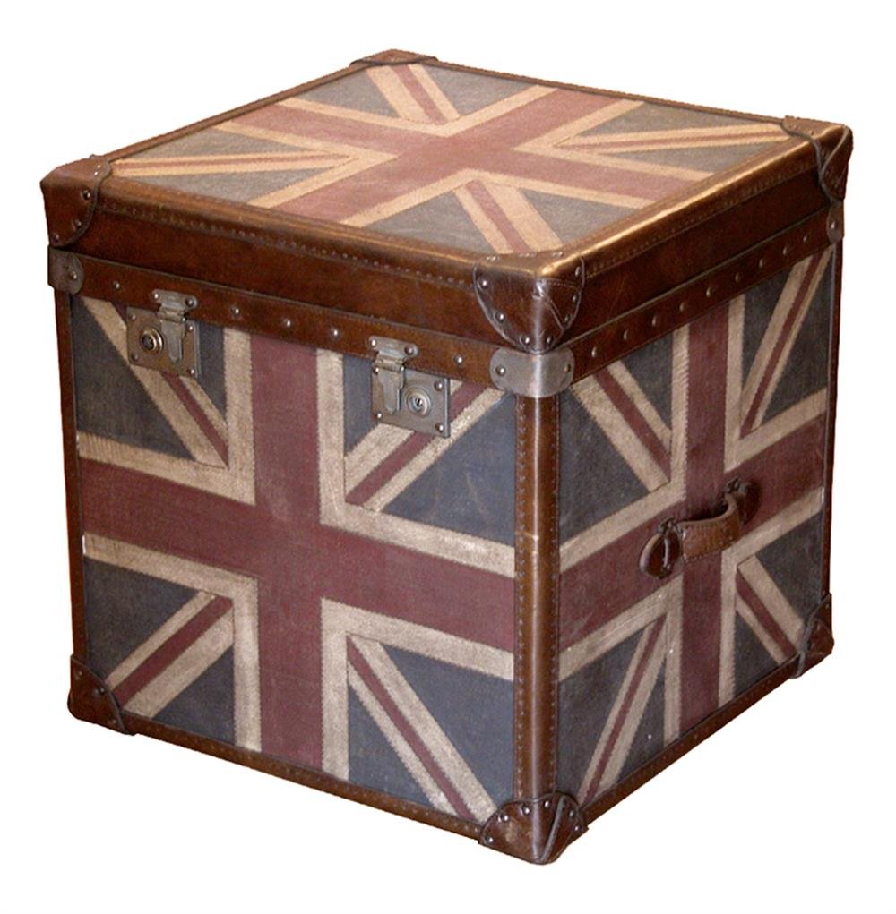 Union Jack Modern Industrial Leather Trunk Side End Table