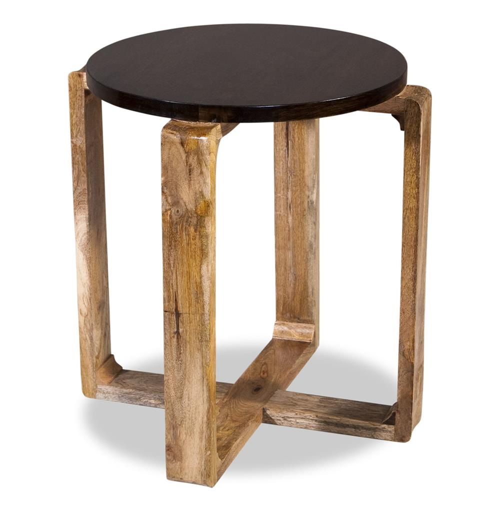 Rustic Wood Side Table ~ Contra modern mid century rustic wood side table