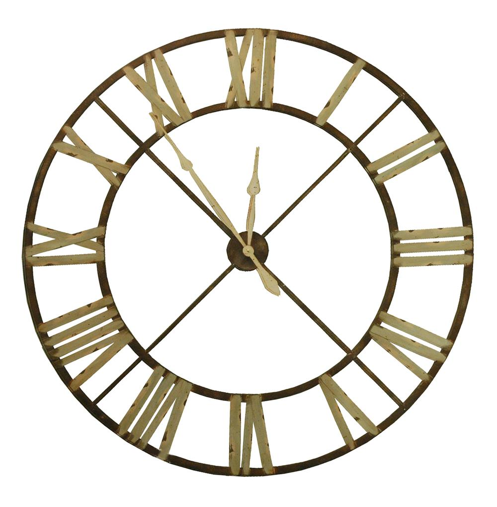 french country large rusted iron roman 48 d wall clock kathy kuo home. Black Bedroom Furniture Sets. Home Design Ideas