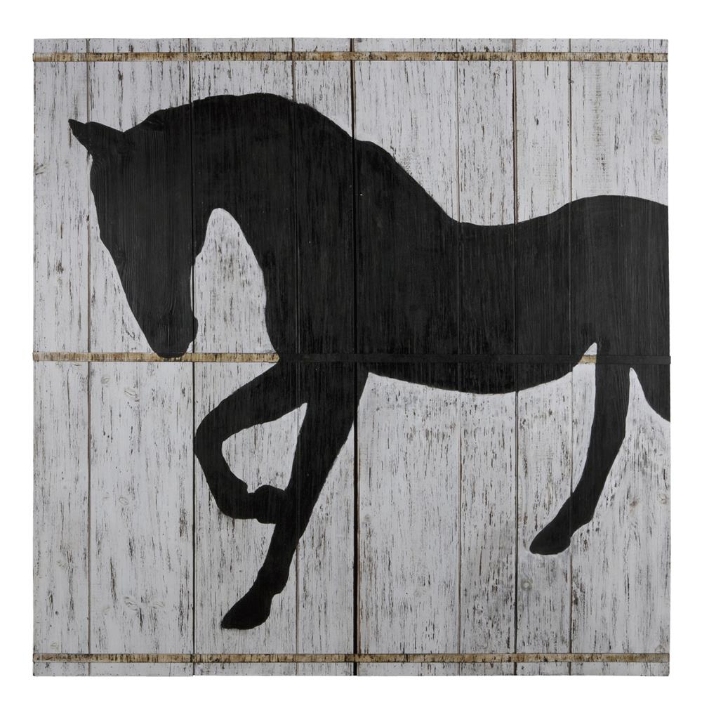 Wall Art Black Horse : Large white washed wood black horse silo wall art quot h