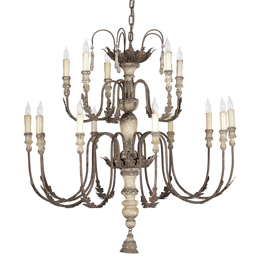 Katrina Antique Silver French Country 14 Light Chandelier | Kathy Kuo Home - Katrina Antique Silver French Country 14 Light Chandelier Kathy